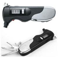 Wholesale 9 in1 digital tire gauge tire pressure gauge tire pressure gauge with Multi Emergency Tool Safety Hammer Automotive Seat Belt Cutter integ
