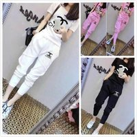 Wholesale 2016 summer new fashion women s letter short sleeved solid color tide nine points trousers leisure sports suit Tracksuits