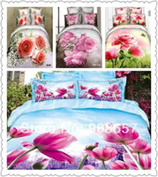 Wholesale 2014 D bedding sets full queen doona quilt covers pink rose magenta tulip pattern cotton bedclothes for girls home