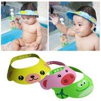 Wholesale 1 X Adjustable Soft Toddler Infant Newborn Baby Kid Safe Shampoo Animal Duck Pig Frog Bath Shower Cap Hat Wash Hair Eye Shield