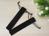 Wholesale 100Pcs Pen protector Black velvet pen bag with rope Fabric cloth pencil case good stationery accessory
