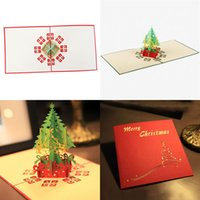 Wholesale 3D Merry Christmas Tree Greeting Cards Postcards Birthday Gift Message Card Thanksgiving Card