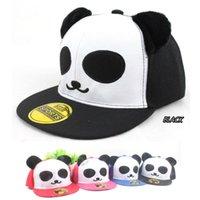 ball panda - China panda Embroidery Snapback cap hat Cute Bone Smiling Face Adjustable blush ear cartoon hiphop girl boy panel teenager Hat