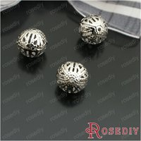 Wholesale Jewelry Spacer Beads MM Imitation Rhodium Iron Hollow Metal ball