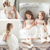 Wholesale Cheap Flower Girl Dresses for Vintage Wedding Blush Sash Belt Covered Button Crew Neck Satin Baby Communion Party Dresses Custom Made