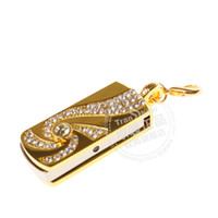 Wholesale U disk g disk g diamond crystal special offer golden whirlwind Keychain cute gift USB disk g
