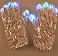 Wholesale New Style LED Shine Gloves Seven Colours Paillette Glove Saloon KTV Hallowmas Christmas Party Supplies Via DHL Ship