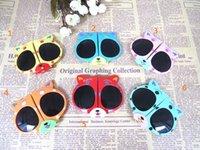Wholesale Cute cartoon bear foldable Sunglasses Children Sun Glasses colorful Reflective UV400 Sunglasses best gift for child Boy Girls Cute Coating S