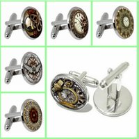 Wholesale new Europe vintage Octopus animal shirts cufflinks cuff nails Time gemstone glass cufflinks Fashion alloy buttons design