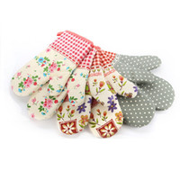 baked oven mitt - 100pcs Print oven mitts high temperature microwave oven baking gloves cotton thicker insulation anti heat slip resistant oven mitts ZA0479