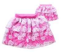 Wholesale 3 Y New summer mini lace baby kids girls skirts with floral ball gown top quality cotton child girls skirts party tutu skirts