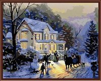 Wholesale Fashion X50cm Frameless DIY Digital Oil Canvas Painting Winter Cottage by Numbers Kits with Pigment Home Decor Wall Decor