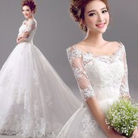 Wholesale Sweet Wedding Dress Vintage Luxury Lace tulle long Trailing Princess Bride Dresses vestido de noiva PLUS SIZE