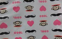Cotton minky baby fabric - monkey print satin fabric minky patchwork cotton fabric katoen stof baby Diy fabrics free width150CM A007