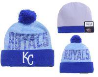 Los nuevos hombres de deporte de Hotselling de las gorras de Pom de los Royals de Kansas City tejieron los sombreros auténticos del invierno de la marca de fábrica de Skullies
