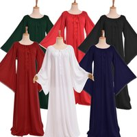 bell gothic - Medieval Women Gown Vintage Ruffled Neckline Flare Sleeve Dress Gothic Lace up Gown Chemise Garment Nightgown Homewear