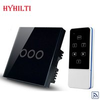 Wholesale UK Type Gang Way Wireless Remote Home Wall Light Switch Luxury Black Crystal Glass WIFI Light Switch RF433MHz