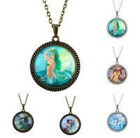 antique white glass - Vintage Mermaids Necklace Antique Timestone Pendant Choker Silver Retro Bronze Adjustable Chain Styles Jewelry Gift