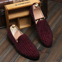 Wholesale Studded Shoes Wholesale - HOTsale brand new free shipping Fashion Mens Punk Studded Rivet Spike Suede Pointy Loafer Casual Dress Shoes EU size 38-43