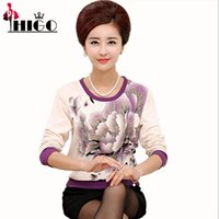 age base - Autumn Women Floral Knitted Pullovers Plus Size Casual Long Sleeve Beaded Middle Aged Mother Base Shirt Top