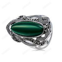 decorative tin - Brand Cason High Quality Women Elegant decorative pattern green stone Band Ring Silver Plated Green Clour Drop Shipping RJ