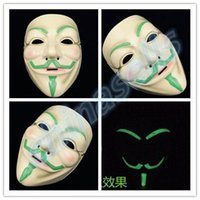 bar agent - new adult Halloween Christmas Venetian mask terrorist agents V face luminous mask party bar face mask cosplay props