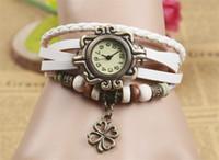 al por mayor pulsera antigua del cinturón-Clover Colgante Unisex Reloj Antiguo Relojes Hecho A Mano Relojes Pulsera Mujer Versión Coreana De La Retro Tendencia De Modelos Cinturón Reloj De Cuarzo