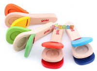 Wholesale wooden handle castanet child musical instrument orff knock instrument toy ZD006A