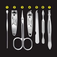 Wholesale Nail Tips Care Manicure Tools Set Kit in With Mini Finger Nail Cutter Clipper File Scissor Tweezers