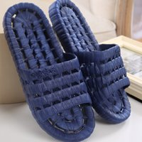 bathroom leaks - 2016 Summer New Bathroom Men Slippers Leaking Non slip Hollow PVC Lovers Indoor Home Shoes Massage Bathroom Slippers