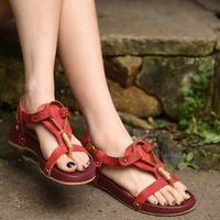 artistic shoes - 2016 original new vintage recreational beach women sandals comfortable flat artistic Rome genuine leather shoes
