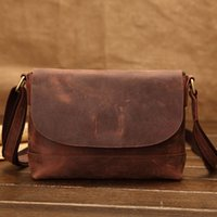 bag cell phone old - Vintage Style Full leather flap cover Crazy Horse Genuine Leather Shoulder Bag for men small size classic real leather bag old