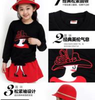 Wholesale Set Children High Collar Long Sleeve Dresses Floral Leggings Set S731