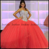 Wholesale Coral Ball Gown Beaded Sequins Quinceanera Dresses with Sweetheart Neckline Sleeveless Sparkly Crystals Pageant Bat Mitzvah Sweet