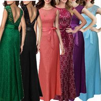 Wholesale The latest European sleeveless lace dress dress party Slim Pencil Skirt back halter dress collar V