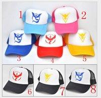 Wholesale Cheap Discount poke go Ball Caps Valor Instinct Mystic Red Color Fashion Adjustable Mesh Baseball Cap Poke Hats Men and Women Snapbacks