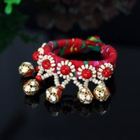 Wholesale Unique Pattern Ethnic100 Handmade Fabric Small Bell Bracelets Cloth Art Jewelry Manual Make Wristband Bangles