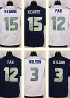 Wholesale 2016 New Men s Jermaine Kearse Russell Wilson Fan White Navy Blue Top Quality jerseys Drop Shipping