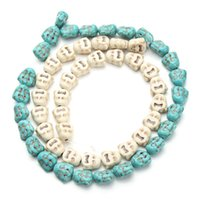 Wholesale Approx cm pack mm mm India Religious Joss Face Loose White Blue Turquoise Beads Stone Beading Spacer Findings F1244