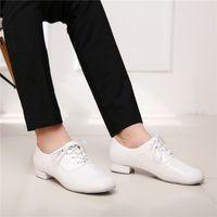 Wholesale Men s black professional men s adult dance shoes modern shoes soft bottom bright modern leather dance shoes