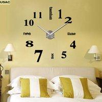 Wholesale Moderno D Reloj de Pared Digital de DIY Grandes Relojes De Pared de Gran Tamaño Espejo Palillo de La Pared Reloj reloj Mural Salón de R25