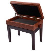 Wholesale Piano Bench PU Leather Storage Adjustable Height Padded Seat Keyboard Brown