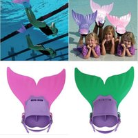 Wholesale 2 Colors Adjustable Wave Fins Kid Free Swimming Fins Training Flipper Mermaid Kel Shoes Tail Diving Scuba Snornt Feet Tail Monofin
