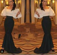 Cheap Hot Sake Saudi Arabia Mermaid Evening Dress 2016 Fashion Bateau Neck Puffy Sleeve Prom Dress Sweep Train Arabic Party Dress Custom made