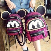 backpack design - Hug Me Girls Backpack New Korean Cute Cartoon Mickey Design Backpack Fashion Sequins Girls Bags with Ear ER