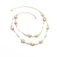 beaded station necklace - 2016 Layered Pearl Necklace Beaded Pearl Station Necklace with Gold Bar Chain Crystal for Lady