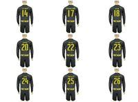 Wholesale Cheaper Uniforms Kit Soccer Jersey Borussia Dortmund Reus Aubameyang SCHURRLE GOTZE Away Black Long Sleeve Jerseys