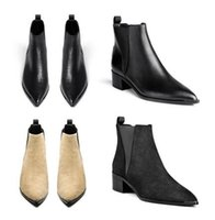 acne ankle boots - Acne Studios Jensen Women Genuine Leather Ankle Boots Pointed Toe metal Low Heels Female Designer Top Quality Autumn Footwear Short Boots