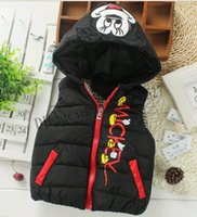 Wholesale 2016 kids Waistcoat Baby children autumn winter fashion down cotton cartoon vest sports leisure jacket boys girls comfortable coat retail