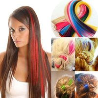 Wholesale clip In On Colorful Hair piece Synthetic Straight Hair Extensions Highlight